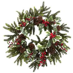 With intricate detailing and almost no maintenance, this holly berry wreath will instantly make your home feel cozy and warm.