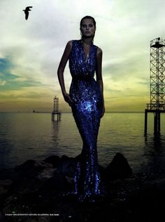 Toni Garrn wowed in Elie Saab spring 2012 for Camilla Akrans' sea siren shoot in Numéro