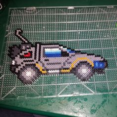 DeLorean back to the Future perler beads by the_nerdy_girl_crafter
