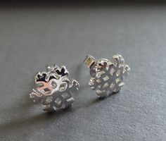 Stud Earrings – Sterling silver 925 snowflake earrings small studs – a unique…