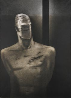 Rameshwar Broota (Indian, b. Prisoner of War, Oil on canvas, 177 x cm. Prisoners Of War, Indian Artist, Modern Contemporary, Oil On Canvas, Statue, Cool Stuff, Paintings, Artists, Paint