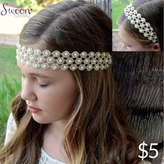 Eudora Headband, $5.  This pearly beauty is a must have. Its wraparound elastic design makes it versatile as a headband or a head wrap. It looks great on both light and dark hair and whatever hairdo you're currently styling.  #headwrap #hairband #headband #hair #head #pearl #crochet #lace #circles #swoon #swoonworthy #swoonweekly #swoon #boho #bohemian #love #truth #beauty #freedom #versatile #curated #obsession #accessory #hairdo