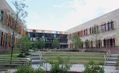 The center courtyard of the newly constructed Sandy Hook Elementary School…
