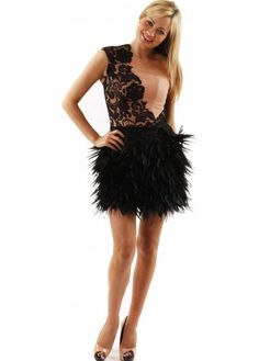 9be7a2ef41 Dress One Shoulder Lace  amp  Feather Dress As Seen On Lucy Mecklenburgh   Pageantdress