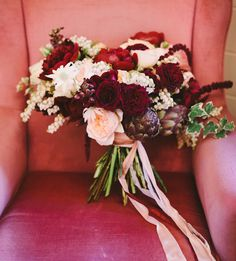 romantic red and blush bouquet of peonies, garden roses, pieris japonica, artichoke, ivy and amaranthus by Jardine Botanic Floral Styling