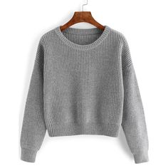 Dropped Shoulder Seam Grey Jumper (90 RON) ❤ liked on Polyvore featuring tops, sweaters, grey, grey long sleeve sweater, loose sweater, long sleeve pullover, gray sweater and loose pullover sweater