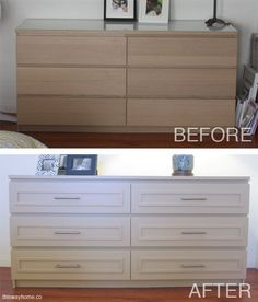 A boring Ikea Malm dresser gets a chic makeover with panel molding and new brushed nickel hardware.