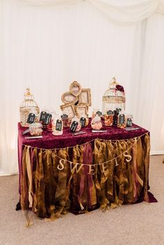 Sweetie Sweets Table Bar Station Fairytale Whimsical Burgundy Gold Wedding / http://www.deerpearlflowers.com/burgundy-and-gold-wedding-ideas/