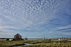 Cotton wool clouds over Thornham marsh