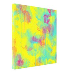 Summer abstract watercolor splatters Canvas print