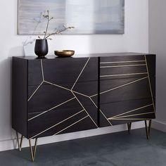 Roar + Rabbit Brass Geo Inlay 6-Drawer Dresser - Ebony | west elm $1299