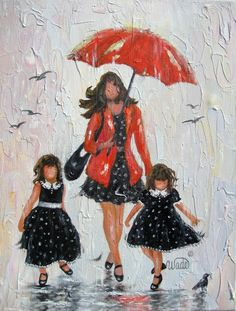 This listing is RESERVED for Char as per happy conversations! Final payment on her Rain Daughters original oil painting.    Rain Daughters is an original 11 X 14 oil painting on gallery wrapped canvas with sides painted to match the front. Rich, thick, oil paints capture the fun in this palette knife impressionistic painting. This painting is varnished for protection and beauty. Ships flat carefully packaged with recycled padding. Thank you Char!      Vickie    Copyright Vickie Wade    Back…