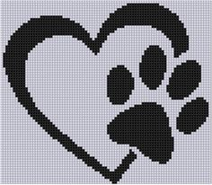 Paw Heart Cross Stitch Pattern por MotherBeeDesigns en Etsy