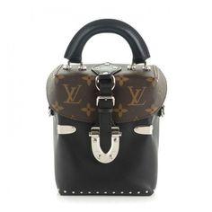 LOUIS VUITTON Calfskin Monogram Camera Box Noir Black ❤ liked on Polyvore featuring bags, handbags, shoulder bags, crossbody handbags, studded shoulder bag, studded crossbody, monogrammed purses and louis vuitton handbags