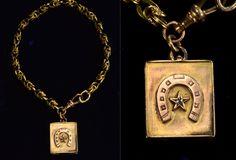 1890s Diamond Horseshoe Locket Watch Chain Bracelet, 14K, $850