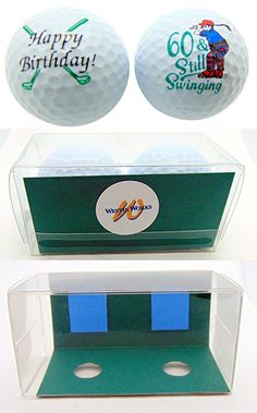 60th Birthday Sixty Still Swinging Set Of 2 Golf Ball Golfer Gift Pack Gifts For