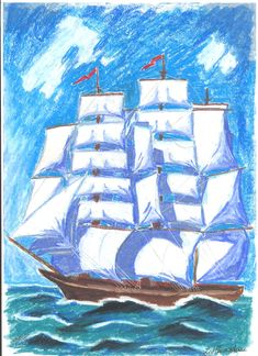 oil pastels; size: A4 Oil Pastels, Sailing Ships, A4, Collection