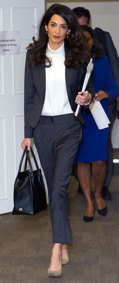 Amal Clooney Is All Business in a Chic Pinstripe Suit from InStyle.com