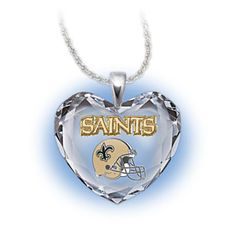Go Saints! Crystal Heart Pendant Necklace $99