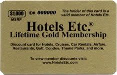 Hotels Etc is a private membership club that allow members access to over 1,000,000 online and offline discounts that are not available to the general public. Visit http://www.hotelsetc.com for more details