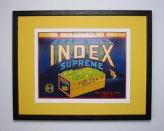 1930s Original Index Supreme, Lemon Fruit Crate Label w. New Conservation Framing, Art Deco Style, CA. USA      by FruitCrateLabelArt, $85.00