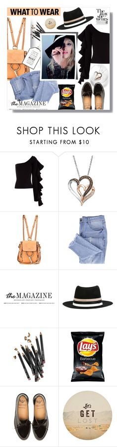 """""""Striped Hat"""" by sharoncrotty ❤ liked on Polyvore featuring Beaufille, Chloé, Essie, Maison Michel, Bobbi Brown Cosmetics, GET LOST, Parlane and hats"""