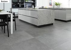 Concrete Look Tile Design Ideas, Pictures, Remodel and Decor Grey Floor Tiles, Living Room Flooring, Kitchen Design, Living Room Kitchen, Kitchen Marble, Living Room Tiles, Room Flooring, Tile Floor Living Room, Farmhouse Rugs Living Room