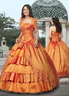 Ball Gown Strapless Pleating Taffeta Floor-length Quinceanera Dress at sweetquinceaneradress.com
