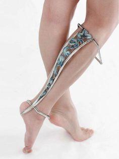 Jizhi Li - Leg Adornment, 2015 | Fine silver, enamel, copper, silver plate