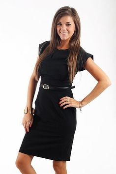 """Work Alert Dress, Black $46.00 Talk about the perfect dress for work! We've got it right here! This dress is modest, professional, and comfortable. We love that the material has a slight stretch to it and that the belt is included!   Fits true to size. Miranda is wearing a small.   From shoulder to hem:  Small- 38.5""""  Medium- 39""""  Large- 39.5""""  XLarge- 40"""""""