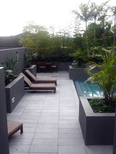 Dark walls, light pavers, if the pavers were darker gray, I would like it less Silver Grey Granite Tiles & Outdoor Pavers