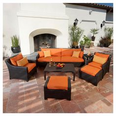 8 Piece Cabo Outdoor Seating Set in Orange