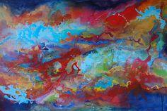 Contemplation II - Grand Art contemporain Peinture abstraite moderne Bleu / Rouge