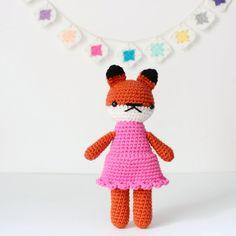 jane .. stuffed plush toy fox amigurumi by HappyLittleHeartToys