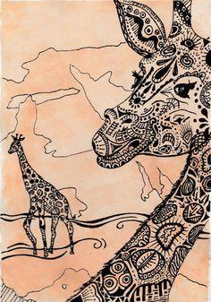 Water Color Giraffe Illustration Zentangle by KendallTemotio