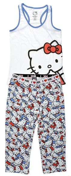 Hello Kitty Juniors Pajama Set Americana (White Tank & Multi-Print Capri, Large) Made by #Hello Kitty Color #White Tank & Multi-Print Capri. Hello Kitty juniors tank top and bottoms pajama set, officially licensed. graphic print scoopneck racerbank tank top with coordinating shorts or capri pants. elastic banded waist bottoms with I Heart HK pattern, no pockets, simply pull on. cotton polyester blend fabric, machine wash cold with like colors, do not iron print