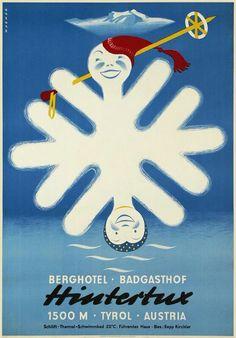 Hintertux, Ski Vintage Poster 1950 #feelaustria