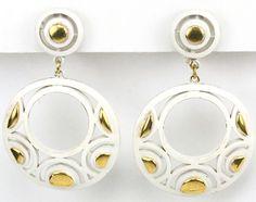 Trifari Gold and White Enamel Pendant Circles Clip Earrings