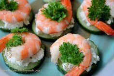 Amuse Bouche - cucumber, goat cheese, pepper, and shrimp. Shrimp Recipes, Appetizer Recipes, Food Categories, Appetisers, Food Humor, Light Recipes, Food Photo, Finger Foods, Love Food