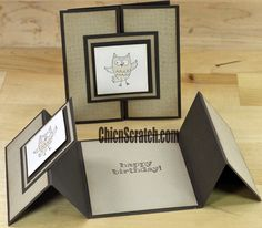 "hand crafted card ... neuttal kraft with black mat borders ... trifold card ... basically a gate fold with z-fold ""doors"" ... great card!"