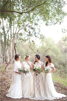 Bridesmaids in all white