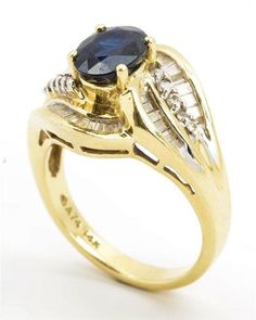Excellent 14k Yellow Gold Swirl Diamond Sapphire Cluster Ring Size 6 5 | eBay 7.4 Grams - 0.50 cttw - Estate Jewelry Sale