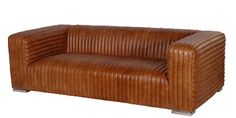 Contemporary Ribbed Brown Leather 3 Seater Sofa