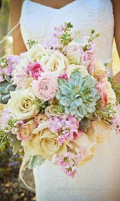 24 Summer Wedding Bouquet Ideas >> Summer brides are lucky to have the most beautiful flowers in season for their bouquet. Whichever summer wedding bouquet you choose, be sure your it reflects your personality. See more wedding bouquet ideas . Mod Wedding, Floral Wedding, Wedding Flowers, Wedding Pastel, Trendy Wedding, Pastel Weddings, Rainbow Wedding, Yellow Wedding, Vintage Weddings