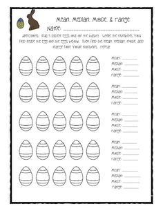 Finding the average mean median and mode worksheets math and fun easter center for mean median mode and range ccuart Gallery