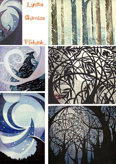 Lynita Shimizu has been creating woodcuts using the Japanese techniques of Moku Hanga since the mid-seventies.