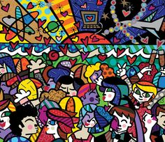 """Romero Britto was born in Recife, Brazil in 1963. Self-taught at an early age, he painted on surfaces such as newspapers. In 1983, he traveled to Paris where he was introduced to the work of Matisse and Picasso. He combined influences from cubism with pop, to create a vibrant, iconic style that The New York Times describes, """"exudes warmth, optimism and love."""""""