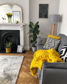 New 15 Inspiring Living Room Color Schemes Ideas Will Make Space Beautiful - waddenhome Mustard Living Rooms, Grey And Yellow Living Room, Grey Yellow, Yellow Sofa, Living Room Grey, Living Room Sofa, Home Living Room, Farrow And Ball Living Room, Scandi Living Room