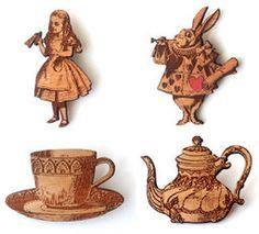 Wooden Alice in Wonderland Brooches