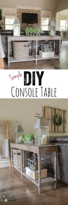 LOVE this DIY Console Table - FREE plans and easy tutorial by www.shanty-2-chic.com !! DIy Furniture plans build your own furniture #diy